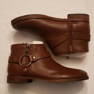 NEW ZARA BROWN LEATHER BOOTIES SIZE 3
